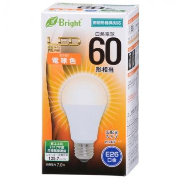 LED電球 60形相当 E26 電球色 広配光 密閉器具対応 [品番]06-3366