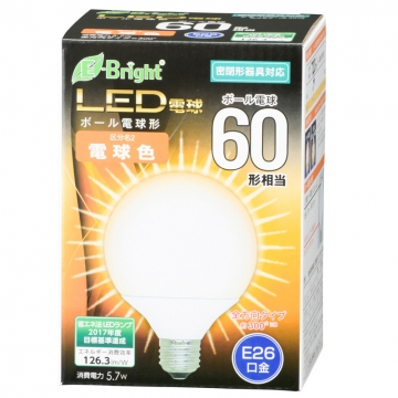 LEDボール球 60形相当 E26 電球色 全方向 密閉器具対応 [品番]06-3378