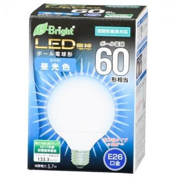 LED電球 ボール形 60形相当 E26 昼光色 [品番]06-3379