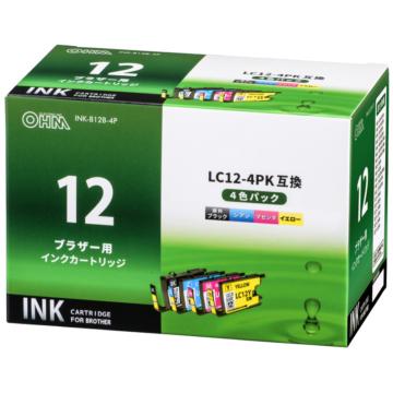 ブラザー LC12-4PK互換 4色(顔料ブラック+染料3色)パック [品番]01-4181