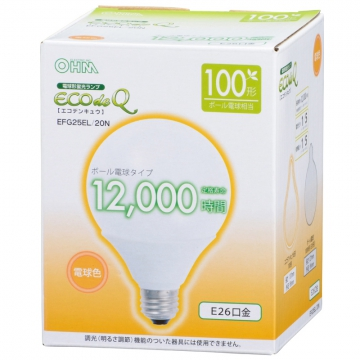電球形蛍光灯 エコデンキュウ G形 E26 100形相当 電球色 [品番]06-0265