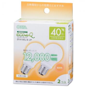 電球形蛍光灯 エコデンキュウ A形 E26 40形相当 電球色 2個入 [品番]06-0271