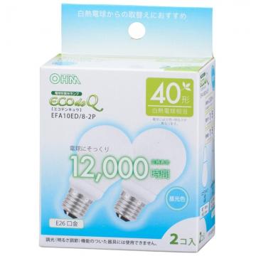 電球形蛍光灯 エコデンキュウ A形 E26 40形相当 昼光色 2個入 [品番]06-0272