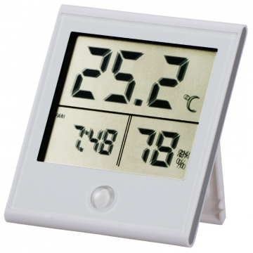 時計付き デジタル温湿度計 白 [品番]08-0091