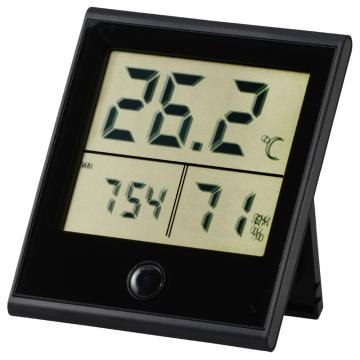 時計付き デジタル温湿度計 黒 [品番]08-0092