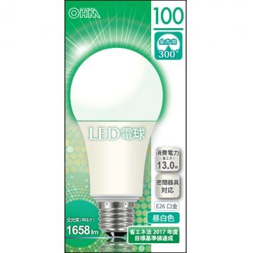 LED電球 100W相当 E26 昼白色 全方向 密閉器具対応 [品番]06-0158