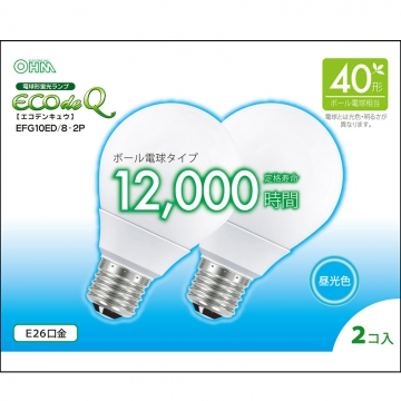 電球形蛍光灯 エコデンキュウ G形 E26 40形相当 昼光色 2個入 [品番]06-0276