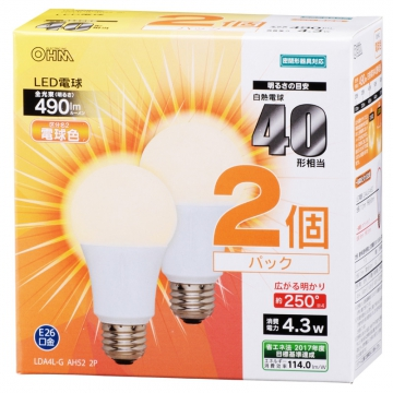 LED電球 40形相当 E26 電球色 広配光 密閉器具対応 2個入 [品番]06-0615