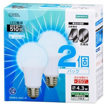 LED電球 一般電球形 40形相当 E26 昼白色 2個入 [品番]06-0616