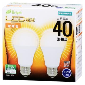 LED電球 一般電球形 40形相当 E26 電球色 2個入 [品番]06-3171