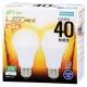 LED電球 40W相当 E26 電球色 広配光 密閉器具対応 2個入 [品番]06-3171