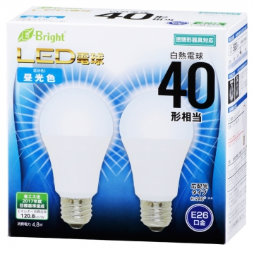 LED電球 40形相当 E26 昼光色 広配光 密閉器具対応 2個入 [品番]06-3172