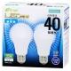 LED電球 40W相当 E26 昼光色 広配光 密閉器具対応 2個入 [品番]06-3172