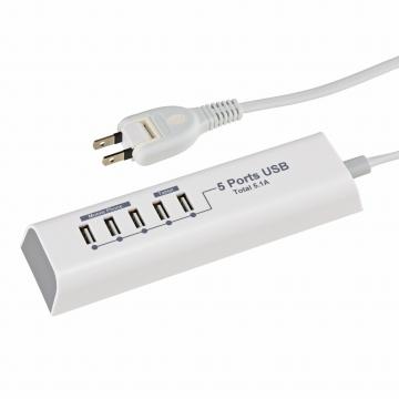 モバイル充電タップ USB5個口 1.5m [品番]00-1260