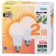 LED電球 30形相当 E26 電球色 広配光 密閉器具対応 2個入 [品番]06-0603