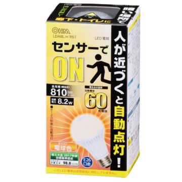 LED電球 E26 60形相当 人感センサー 電球色 [品番]06-0607