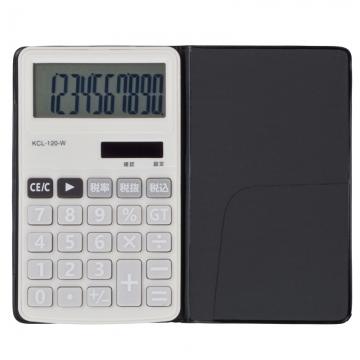 電卓 ソーラー 10桁 手帳サイズ 白 [品番]07-9951