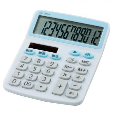 電卓 ソーラー 12桁 手帳サイズ 青 [品番]07-9958