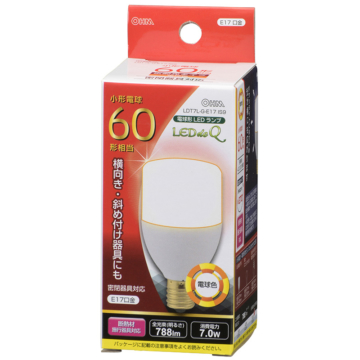 LED電球 T形 60W形相当/E17/電球色 広配光/密閉器具対応/断熱材施工器具対応 [品番]06-0227