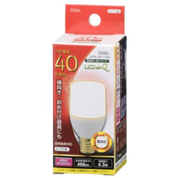 LED電球 T形 40形相当 E17 電球色 [品番]06-0299