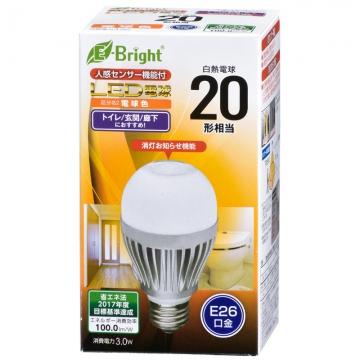 LED電球 20形相当 E26 電球色 人感・明暗センサー [品番]06-3115