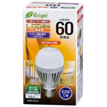 LED電球 60形相当 E26 電球色 人感・明暗センサー [品番]06-3119