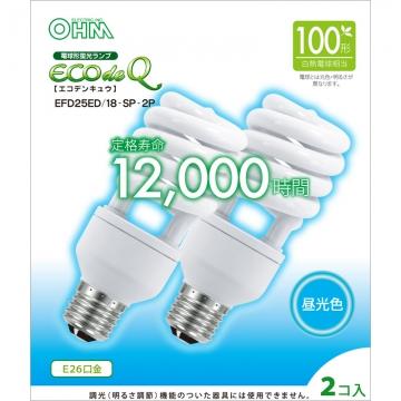 電球形蛍光灯 エコデンキュウ スパイラル形 E26 100形相当 昼光色 2個入 [品番]06-0280