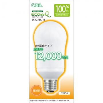 電球形蛍光灯 エコデンキュウ A形 E26 100形相当 電球色 [品番]06-0285