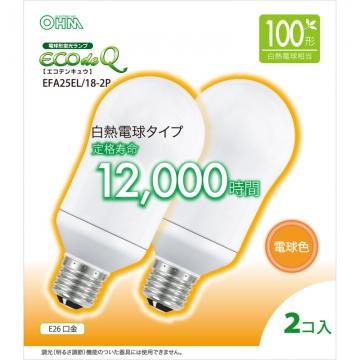 電球形蛍光灯 E26 100W相当 電球色 エコデンキュウ 2個入 [品番]06-0287