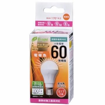 LED電球 ミニクリプトン形 60形相当 E17 電球色 広配光 密閉器具/断熱材施工器具対応 [品番]06-3354