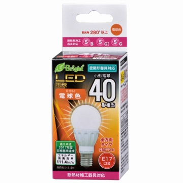 LED電球 小形 40W形相当 E17 電球色 [品番]06-3358