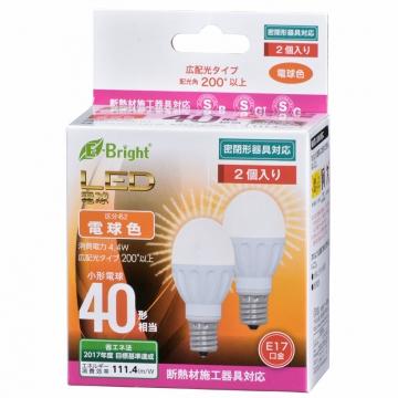 LED電球 ミニクリプトン形 40形相当 E17 電球色 広配光 2個入 [品番]06-3390