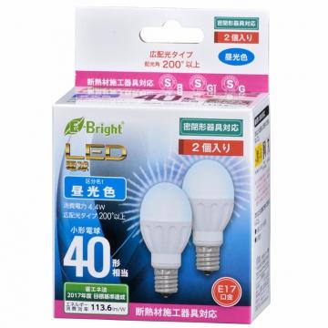 LED電球 ミニクリプトン形 40形相当 E17 昼光色 広配光 密閉器具/断熱材施工器具対応 2個入 [品番]06-3391
