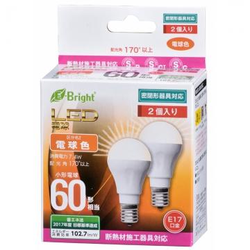 LED電球 小形 60形相当 E17 電球色 2個入 [品番]06-3392