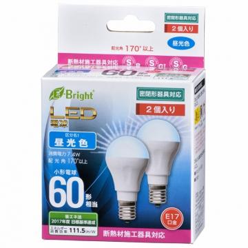 LED電球 ミニクリプトン形 60形相当 E17 昼光色 広配光 密閉器具/断熱材施工器具対応 2個入 [品番]06-3393