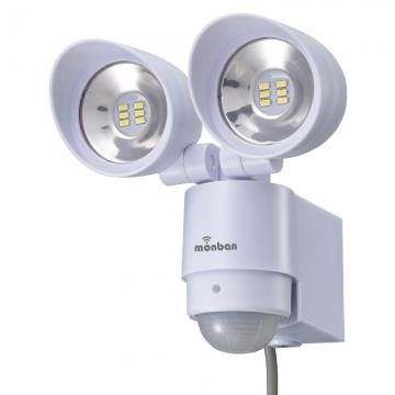 monban LEDセンサーライト コンセント式 2灯 [品番]07-8217