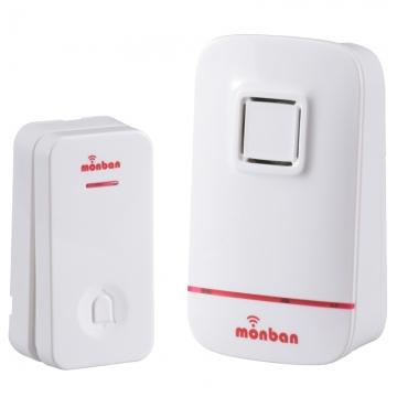 monban ワイヤレスコールチャイム 押しボタン送信機+電池式受信機 [品番]08-0521