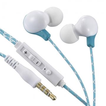 AudioComm ステレオイヤホン リモコン付 ブルー [品番]03-0383