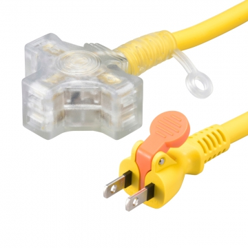 らく抜き&通電ランプ付 作業用延長コード 3個口 10m 黄 [品番]00-4362