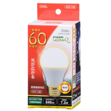 LED電球 60形相当 E26 電球色 広配光 密閉器具対応 [品番]06-0753