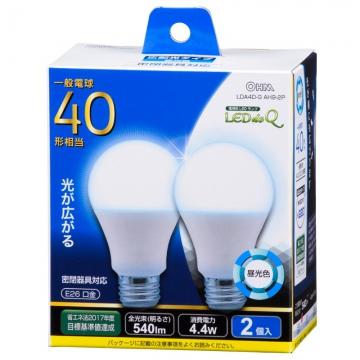 LED電球 40形相当 E26 昼光色 広配光 密閉器具対応 2個入 [品番]06-0774
