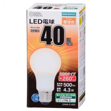 LED電球 40形相当 E26 電球色 全方向 密閉器具対応 [品番]06-1733