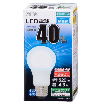 LED電球 一般電球形 40形相当 E26 昼白色 [品番]06-1734