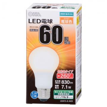 LED電球 E26 60形相当 全方向 密閉器具対応 電球色 [品番]06-1735