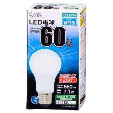 LED電球 60W相当 E26 昼白色 全方向 密閉器具対応 [品番]06-1736