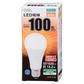 LED電球 E26 100形相当 全方向 密閉器具対応 電球色 [品番]06-1737