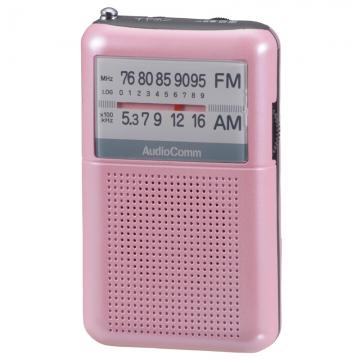 AudioComm AM/FMポケットラジオ ピンク [品番]07-8853