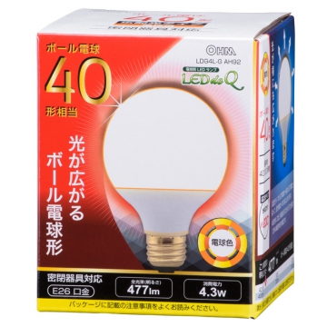 LED電球 ボール形 E26 40形相当 電球色 [品番]06-0755