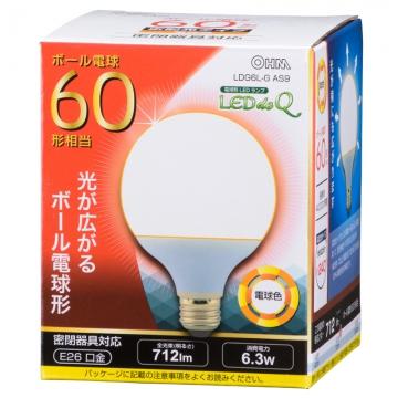 LED電球 ボール形 E26 60形相当 電球色 [品番]06-0757