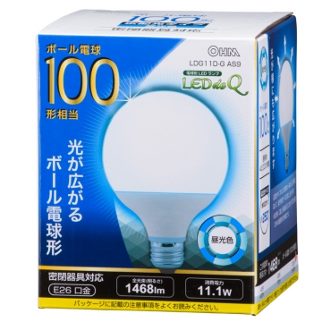 LED電球 ボール形 100W相当 昼光色 [品番]06-0760